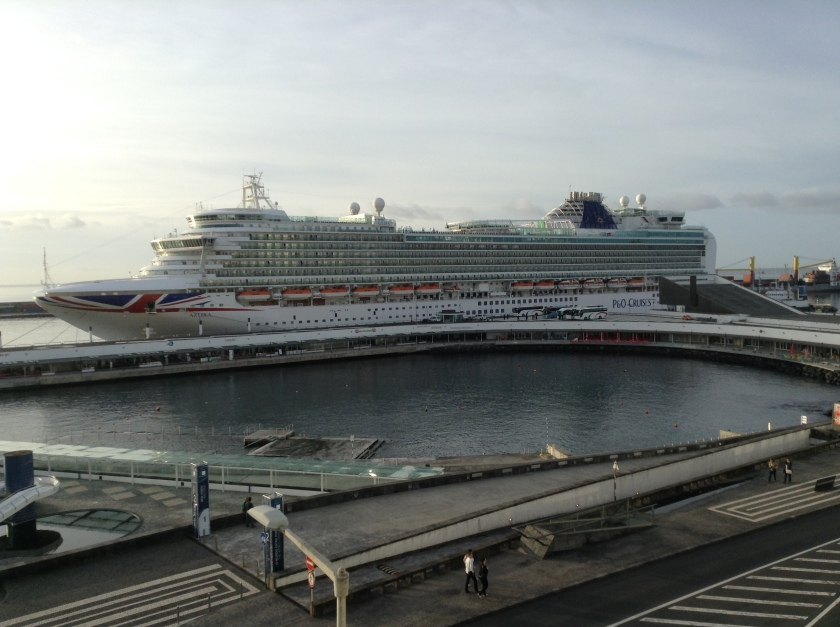 P&O Cruise Liner Azura at Ponta Delgada.