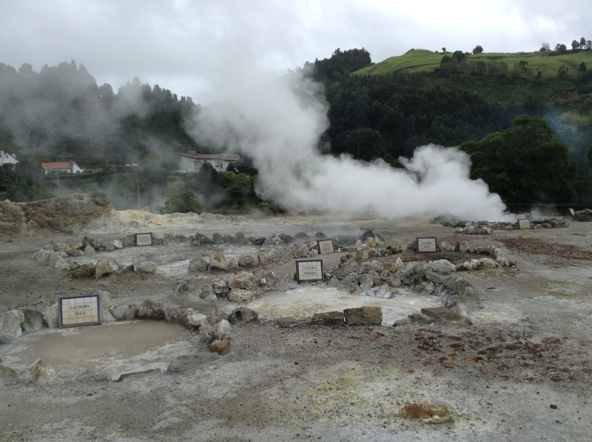 At Furnas you can experience fumeroles, bubbling pools, hot springs and a strong smell of rotten eggs.