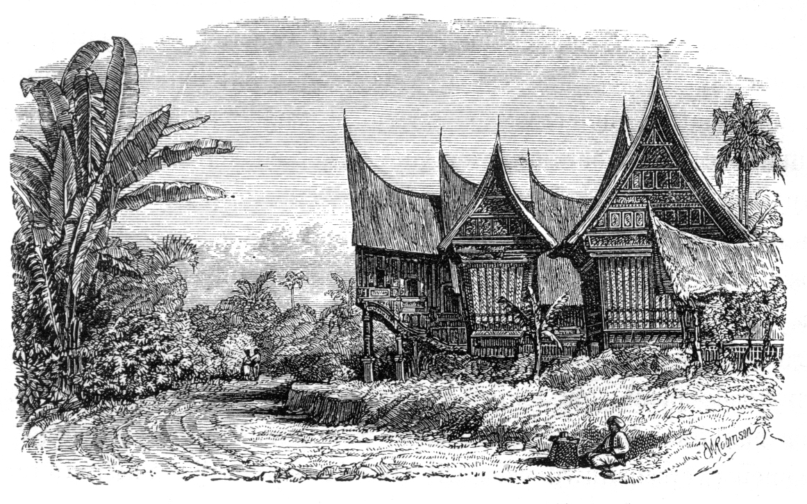 CHIEF'S HOUSE AND RICE SHED IN A SUMATRAN VILLAGE