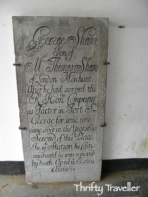 Tombstone of George Shaw at Bencoolen