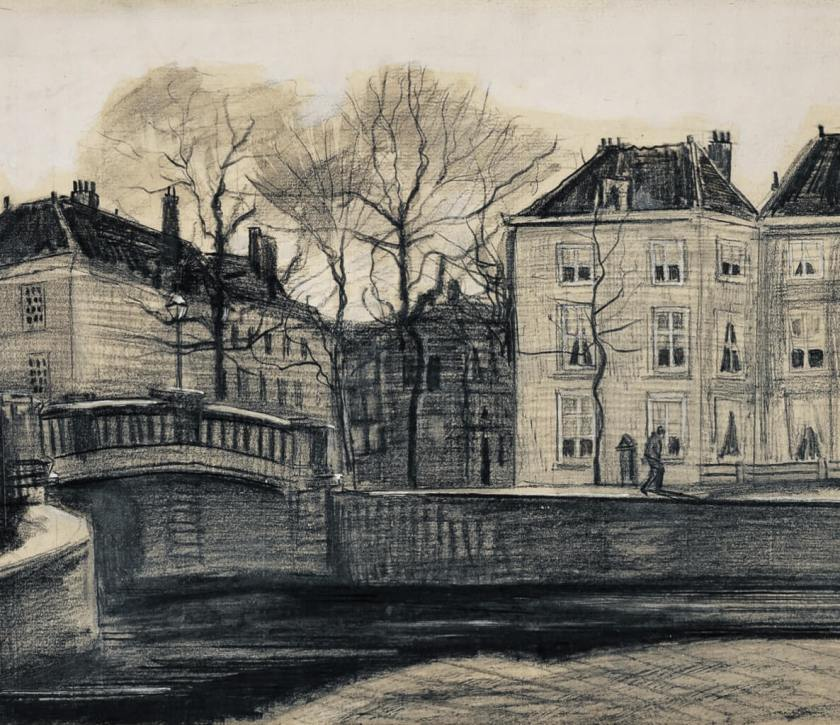 Bridge and Houses on the Corner of Herengracht-Prinsessegracht, The Hague Vincent van Gogh, March 1882